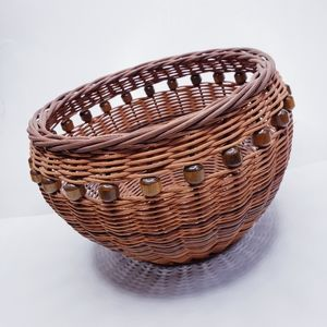 Beaded Round Woven Wicker Basket Home Decor
